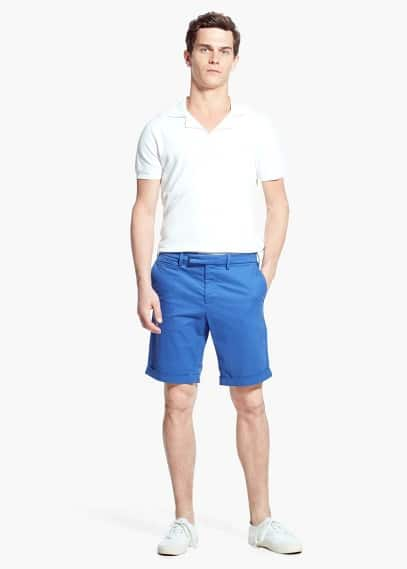 Tabbed cotton bermuda shorts | MANGO MAN