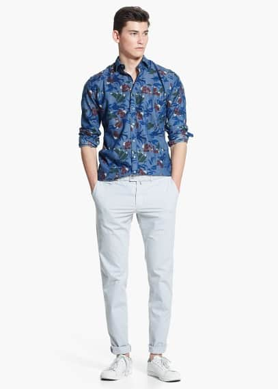 Slim-fit floral-print shirt