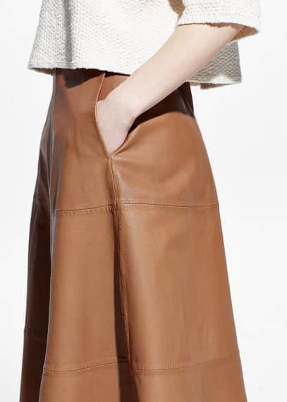 Premium - leather a-line skirt | MANGO