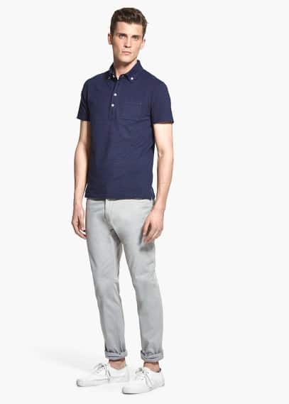 Dot-pattern cotton polo shirt | MANGO MAN