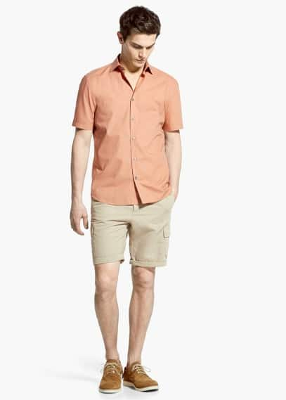 Cotton linen-blend cargo bermuda shorts | MANGO MAN