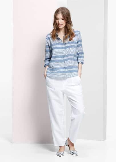Soepelvallende linnen broek | VIOLETA BY MANGO