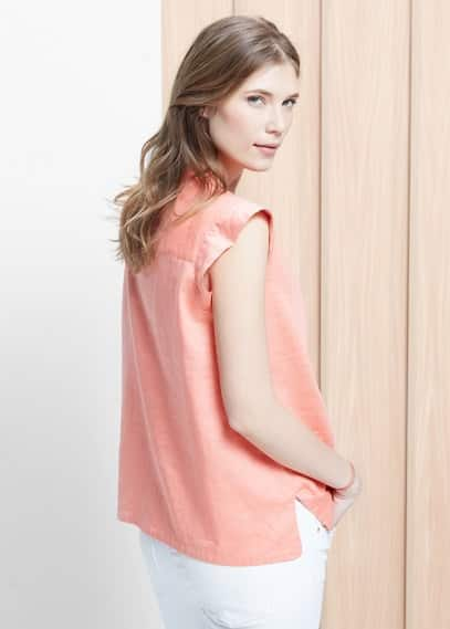 Chest-pocket ramie-blend blouse | MANGO