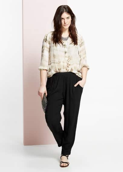 Mixed baggy trousers | MANGO