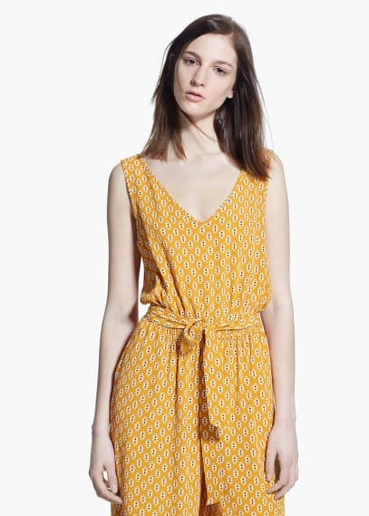 Bow printed jumpsuit | MANGO