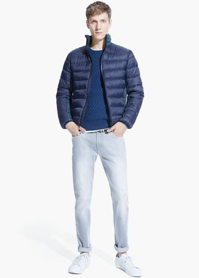 Paneled water-repellent quilted jacket