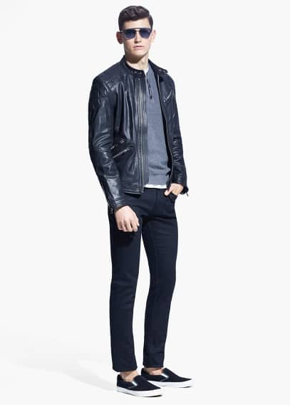 Quilted panel leather jacket | MANGO MAN