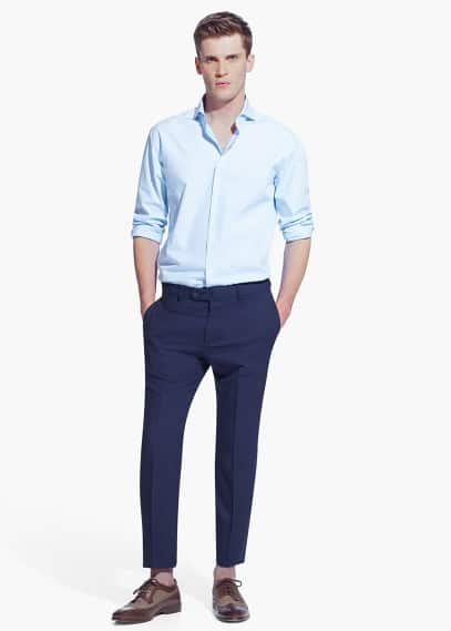Katoenen tailored classic-fit overhemd | MANGO MAN