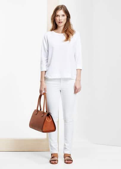 Bavlněné tričko s texturou | VIOLETA BY MANGO