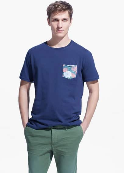 Floral-print chest-pocket t-shirt | MANGO MAN