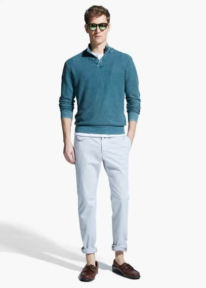 Elbow-patch textured sweater | MANGO MAN