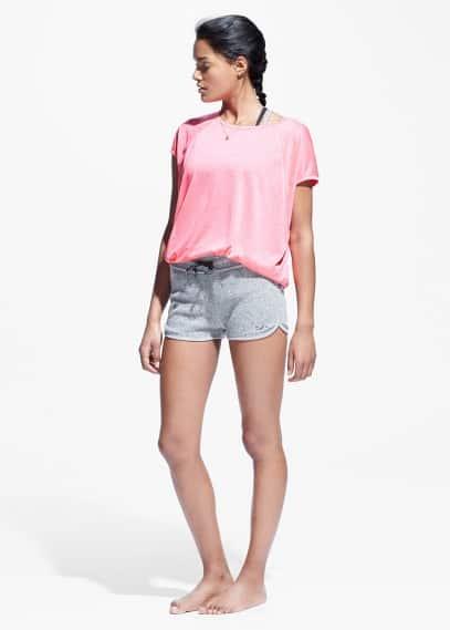 Yoga - flecked plush shorts | MANGO
