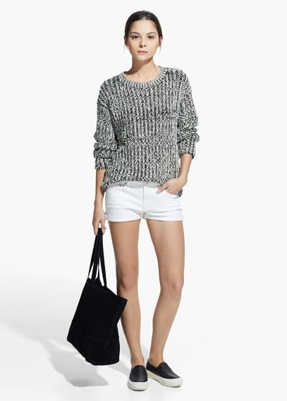 Witte denim shorts | MANGO