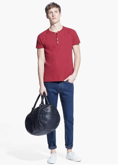 Slub-cotton Henley t-shirt