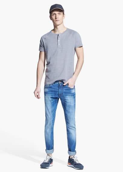 Henley-shirt baumwoll-flammengarn | MANGO MAN