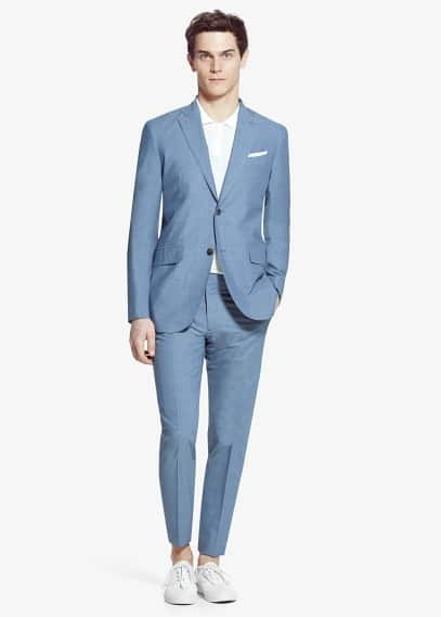 Slim-fit cotton poplin suit blazer | MANGO MAN