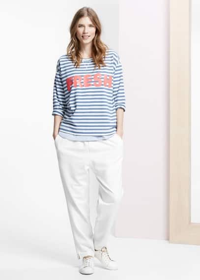Message striped sweatshirt | VIOLETA BY MANGO