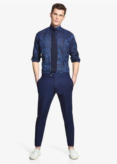 Pantalón traje algodón lino | MANGO MAN