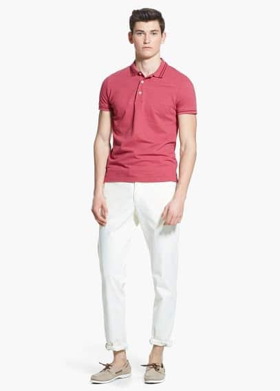 Contrast-stripe piqué polo shirt