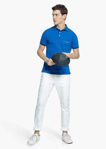 Chest-pocket cotton piqué pocket polo shirt | MANGO MAN