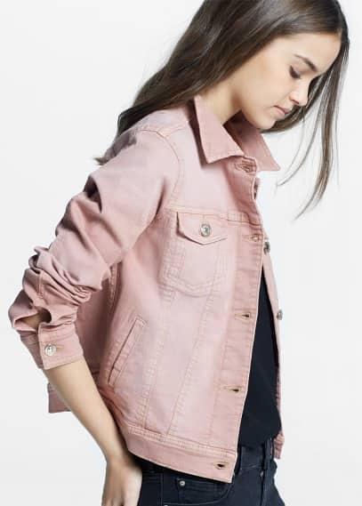 Růžová džínová bunda | MANGO
