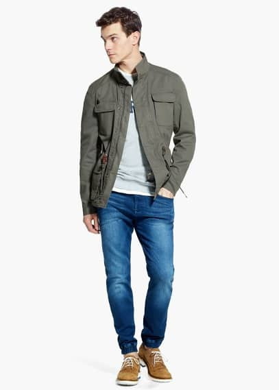 Cotton-canvas field jacket | MANGO MAN