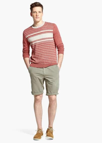 Cotton linen-blend bermuda shorts | MANGO MAN