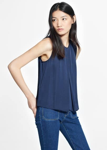 Pleat satin top | MANGO