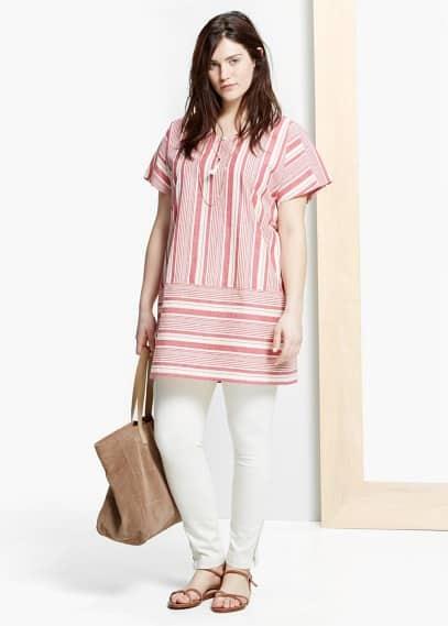 Gestreepte katoenen blouse | VIOLETA BY MANGO