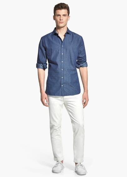 Slim-fit dot-print cotton shirt | MANGO MAN
