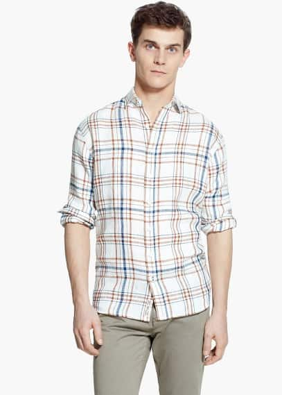 Slim-fit check linen shirt | MANGO MAN
