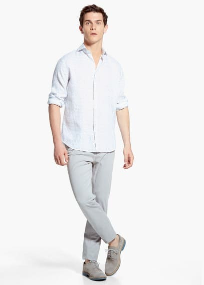 Slim-fit liberty-print linen shirt | MANGO MAN