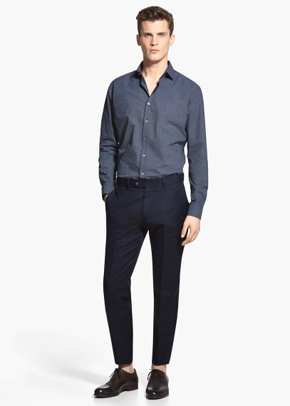 Slim-fit linen-blend suit trousers | MANGO MAN