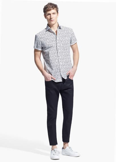 Slim-fit short-sleeve liberty-print shirt | MANGO MAN