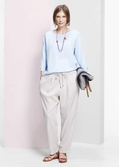 Ramie-blend baggy trousers | MANGO