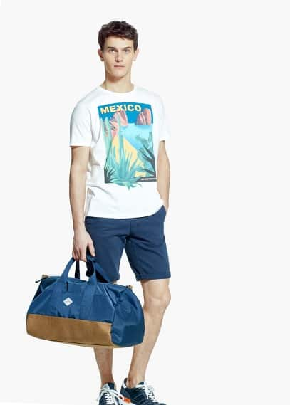 Mexico print cotton t-shirt | MANGO MAN