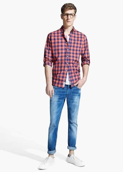 Camisa slim-fit quadrados | MANGO MAN