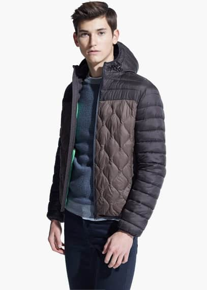 Color block water-repellent quilted jacket | MANGO MAN