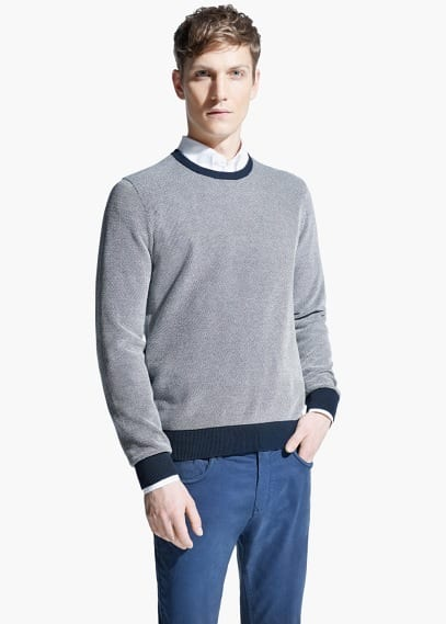 Contrast-edge textured sweater | MANGO MAN