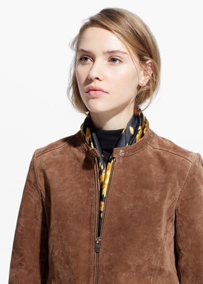 Zipped suede jacket | MANGO
