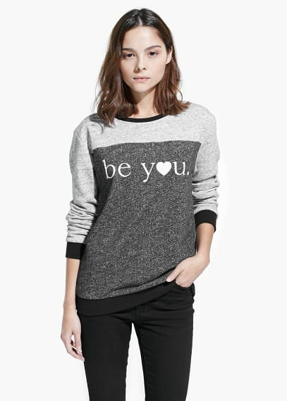 Message cotton-blend sweatshirt | MANGO