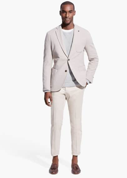 Elbow-patch jersey blazer | MANGO MAN