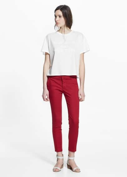 Straight cotton-blend trousers | MANGO