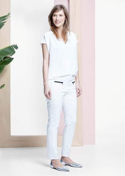Kalhoty s kontrastními lemy | VIOLETA BY MANGO