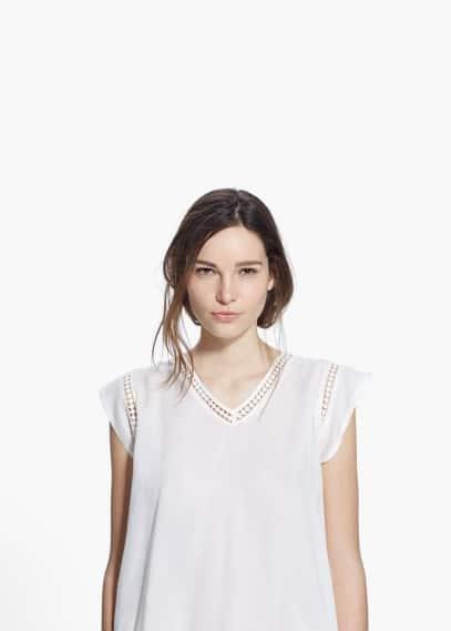 Camiseta ribetes calados | MANGO