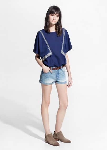 Light wash denim short | MANGO