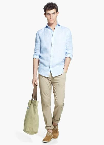 Slim-fit linen shirt | MANGO MAN