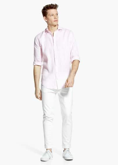 Linnen slim-fit overhemd | MANGO MAN