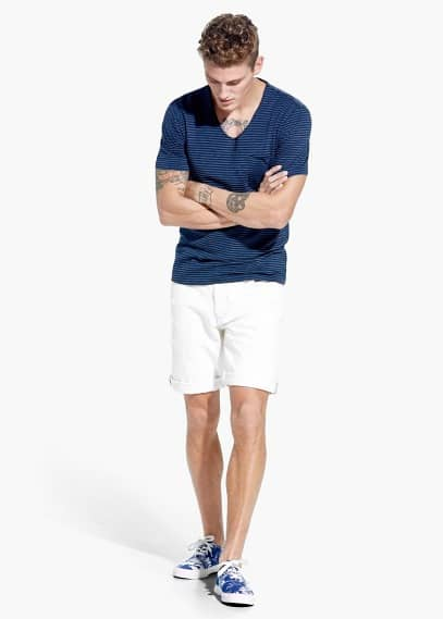 Ripped-detail denim bermuda shorts | MANGO MAN