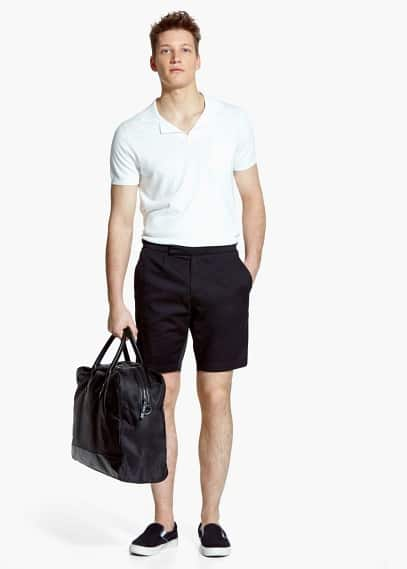 Side-tab cotton bermuda shorts | MANGO MAN